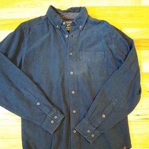 Woolrich gray flannel button down shirt mens small